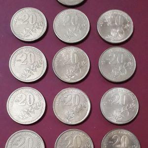13 παλαιά, ελληνικά συλλεκτικά νομίσματα, των είκοσι δραχμών με τον Διονύσιο Σολωμό.