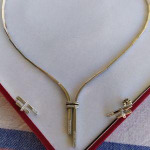χρυσό σετ με διαμάντια, κολιέ + σκουλαρίκια , καινούριο