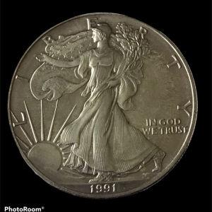 USA 1 oz silver 1991