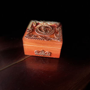 Vintage Ξύλινο Κουτί, Μπιζουτιέρα με Χαλκό, USSR 1980