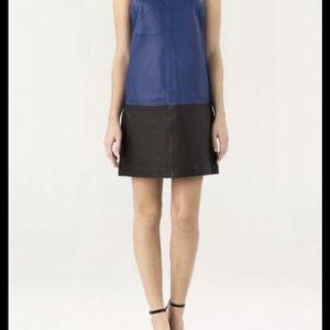 Μπλε - Μαύρο Δερμάτινο Φόρεμα - Blue - Black Leather Dress Massimo Dutti