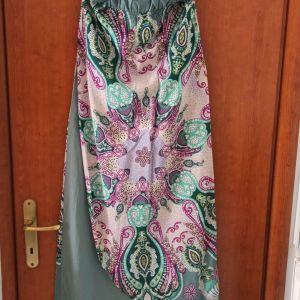 Καλοκαιρινό strapless φόρεμα λαχούρι
