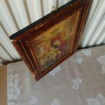 Παλιά ξύλινη εικόνα ( χαρτί, δεκ'50) διαστάσεων 24,0χ18,5 εκατοστών