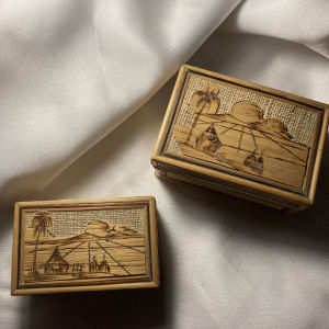 vintage κουτάκια αποθήκευσεις κοσμηματοθήκες  ξύλινα-ψάθινα
