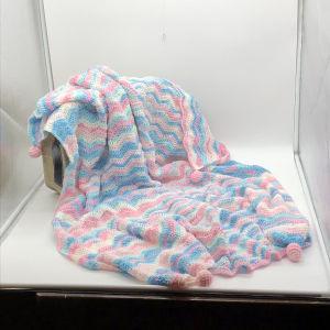 χειροποίητη πλέκτη κουβέρτα λίκνου κούνιας 1,20x 1,10 εκατοστά ουράνιο τόξο γοργόνα ροζ τιρκουάζ