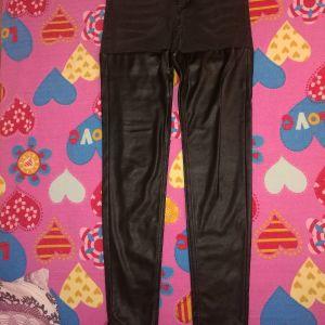 Τζιν παντελόνι με μπατζάκια δερματίνης