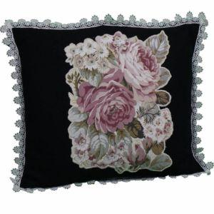 Χειροποίητο διακοσμητικό μαξιλάρι με λουλούδια