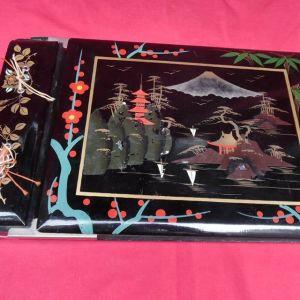 Γιαπωνέζικο  μεγάλο χειροποίητο φωτογραφικό  μουσικό άλμπουμ με ξύλινα εξώφυλλα της δεκαετίας του '50.