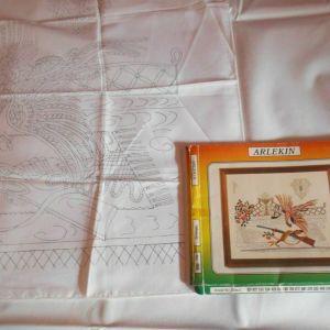 Το κυνήγι τετράγωνο τραπεζομάντιλο τυπωμένο σταμπωτό μοτίβο για κέντημα 93x71 εκ