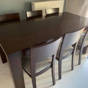 Τραπεζαρία με 6 καρέκλες. Μασιφ ξύλο. 0,80 Χ 1,80 με επέκταση 2,30