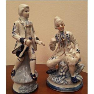 Σετ από 2 κεραμικά διακοσμητικά αγάλματα / φιγούρες από πορσελάνη