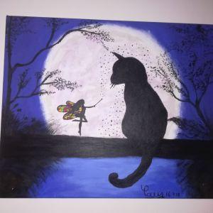 Πίνακας Ζωγραφικής - Μαγεμένη Γάτα