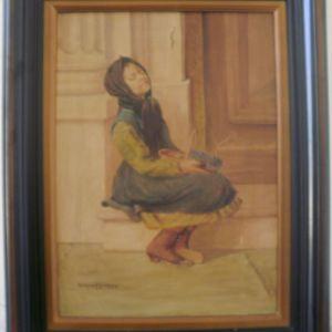 Πίνακας ζωγραφικής ελαιογραφία,  << Η γυφτοπούλα >>  σπάνιο κομμάτι του γνωστού ζωγράφου Αναγνωστάκη,