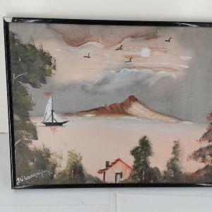 πίνακας ζωγραφισμένος πάνω σε πλακάκι εποχής