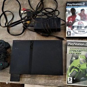 Πωλείται κονσόλα PLAYSTATION 2 SLIM με δύο παιχνίδια