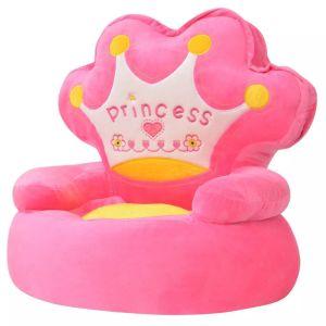"""vidaXL Πολυθρόνα Παιδική """"Πριγκίπισσα"""" Ροζ Λούτρινη- 80158"""