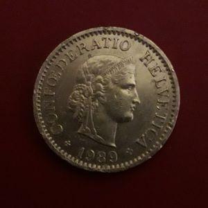 Παλαιό ελβετικό, συλλεκτικό νόμισμα, του 1989.