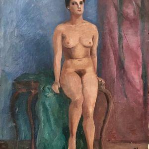 Ελαιογραφία σε κόντρα πλακέ, ξένου ζωγράφου, 'Γυμνό'