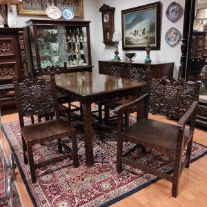 Τραπεζαρία Σκυριανή με έξι καρέκλες, χειροποίητης κατασκευής