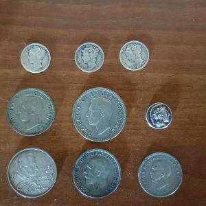 Λοτ 8 ασημενιων νομισμάτων (Αγγλία, Ελλάς, Γερμανία, ΗΠΑ)