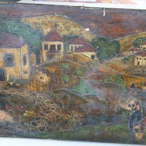 """Πίνακας αντίκα με θέμα """"Η ζωή στο χωριό """""""