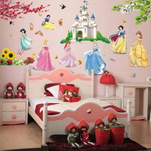 Αυτοκόλλητη ετικέτα Διακοσμητικά αυτοκόλλητα του τείχος με πριγκίπισσες Disney στο κάστρο ΦΤΗΝΟΣ
