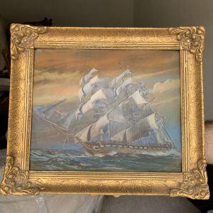 3D vintage πινακας πλοιου 40x34