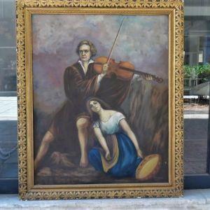 Μεγάλος πίνακας ελαιογραφία σε μουσαμά αρχών του προηγούμενου αιώνα.