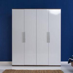 4φυλλη ξύλινη ντουλάπα με ράγες και ράφια, λευκή