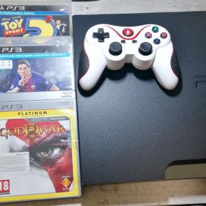 Sony PS3 Slim +control + 5 games