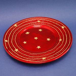 Χριστουγεννιάτικη Κεραμική Πιατέλα Κόκκινη με Χρυσά Αστέρια