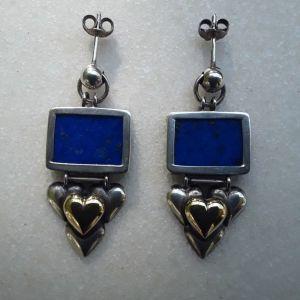 Ασημενια σκουλαρικια με Lapis Lazuli και Χρυσο # ΠΤΩΣΗ ΤΙΜΗΣ #