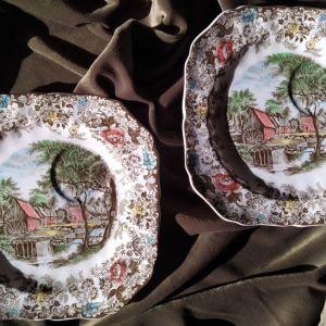 Αντίκες Johnson Brothers - Σετ δύο αγγλικά ζωγραφιστά πιάτα τσαγιού