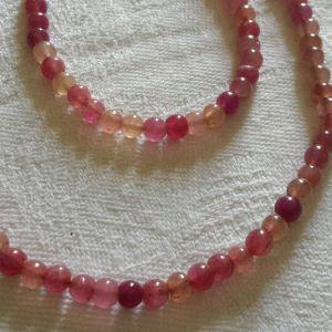 Σετ pink quartz κολιέ και βραχιόλι