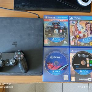 PS4 Slim 500GB+Dualshock 4 + 4 Παιχνίδια