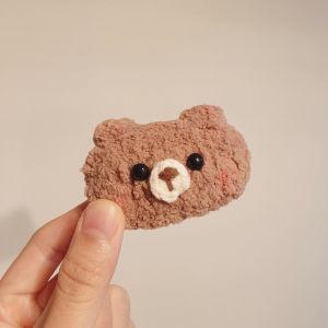 crochet chenille bear hair clip