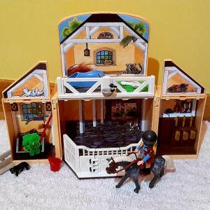 playmobil game box φαρμα αλόγων
