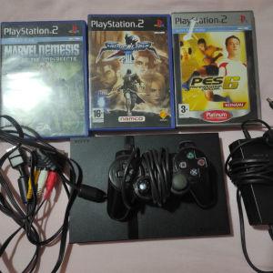 PlayStation 2 Slim+ 3 παιχνίδια και λέιζερ καινούργιο
