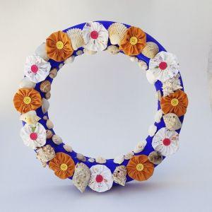 Χειροποίητο Στεφάνι Τοίχου με Κοχύλια και Λουλούδια