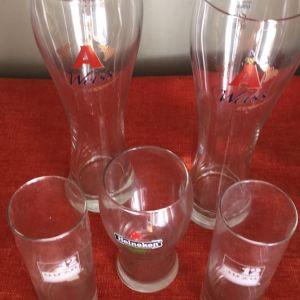 5 ποτηρια συλλεκτικά Μπύρας κ ουζου