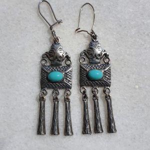 Vintage σκουλαρίκια χειροποίητα από 925 ασήμι και ημιπολύτιμους τυρκουάζ λίθους