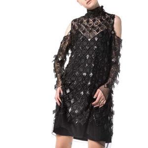 Nidodileda vintage black lace mini dress/ Συλλεκτικό μαύρο μίνι φόρεμα δαντέλα διάφανο