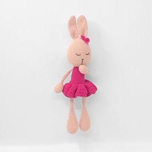 Λαγουδάκι χειροποίητο πλεκτό κουκλάκι amigurumi ροζ