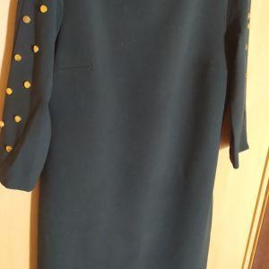 L, επώνυμο,καινούριο,πολύ ακριβό φόρεμα, εξαιρετικής ποιότητας, φανταστικό χρώμα κυπαρισί,με τρουκς