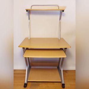 Γραφείο υπολογιστή με 3 επιφάνειες και ροδάκια (pc desk) - Άριστη κατάσταση!