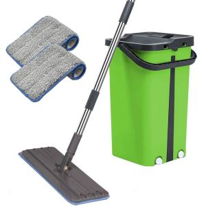 Cenocco Σύστημα Καθαρισμού – Σετ Επίπεδη Αυτοκαθαριζόμενη Σφουγγαρίστρα με Κουβά Πράσινη CC-9077-GN
