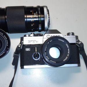 Φωτογραφικη μηχανή κλασσική με φίλμ Cannon Ftb μέ φακούς; 50 mm f1,4  Vivitar 28mm f2,8  Cannon 200mm