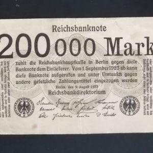 200000 Γερμανικά Μάρκα 1923.