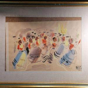 ΒΕΛΟΥΔΑΚΗΣ ΜΙΧΑΛΗΣ 1957 - Ακουαρέλα - Το πανηγύρι του χωριού - πρωτότυπο