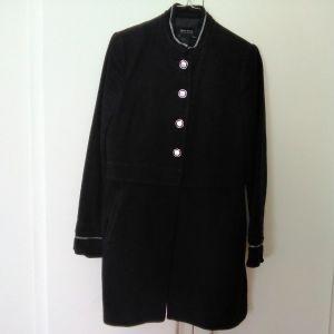 Γυναικείο παλτό βελουτέ μαύρο ZARA μέγεθος medium